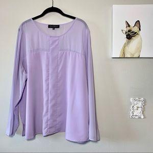 Eloquii Semi Sheer Lavender Blouse